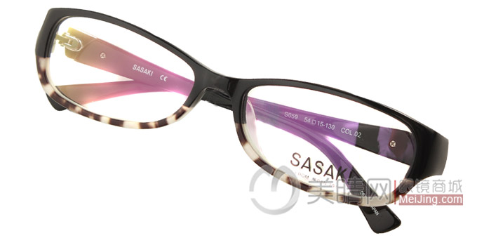sasaki佐佐木黑色个性时尚板材镜架s059/col.02