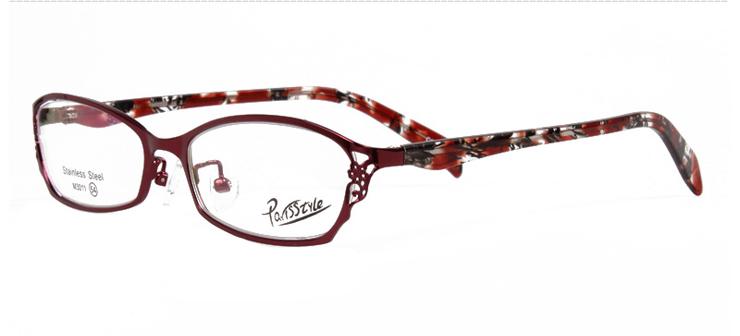 巴黎風情酒紅色女款全框合金時尚金屬框架3011-C11
