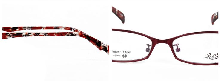 巴黎风情酒红色女款全框合金时尚金属框架3011-C11